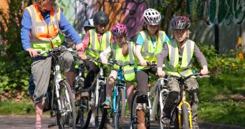 Children learning cycling skills