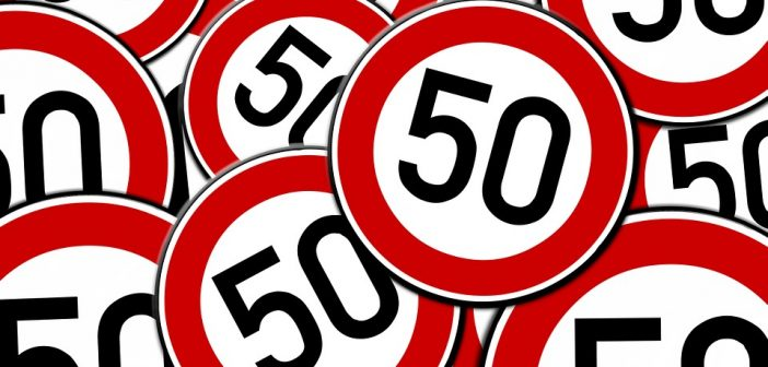 50mph sign