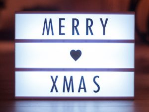 Cinema lightbox that says Merry Xmas