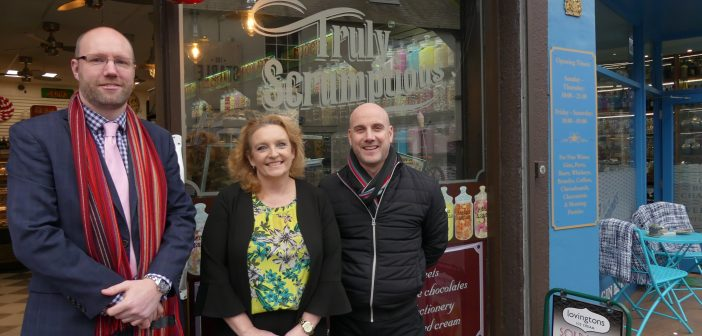 image of Adam Keen, Jeanette Walsh and Justin Hundley-Applton of Poole BID outside the truly scrumptious store
