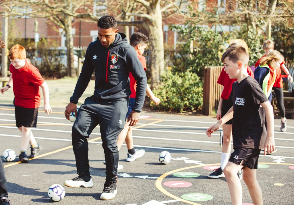 image of Jordon Ibe taking part in Primary Stars at Pokesdown Primary School