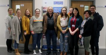 image of Professor John Siraj-Blatchford with past and current Bournemouth Poole College students