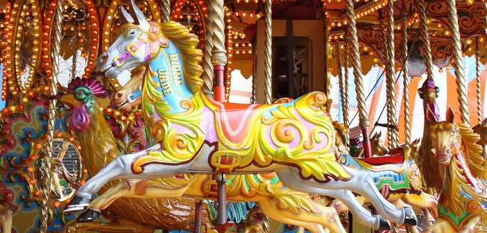 image of horses on a carousel