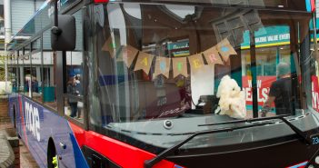 image of morebus bus set up for easter activities