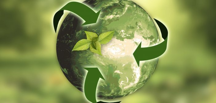image of recycling logo around a green earth