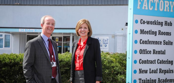 image of Martin Lucas of BCHA and Sara Uzzell of Dorset LEP outside The Factory in Poole
