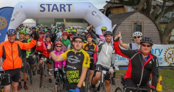 image of riders at the start of the charity bike ride