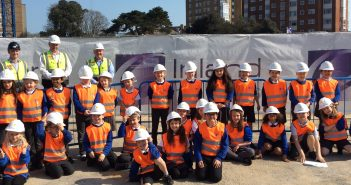 image of st michael's c of e primary school pupils at the construction site