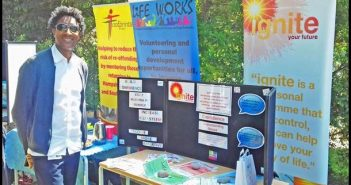 A photo of a BCHA rep at their Festival of Wellbeing stand