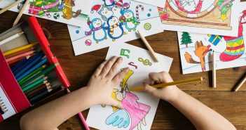 A child colouring.