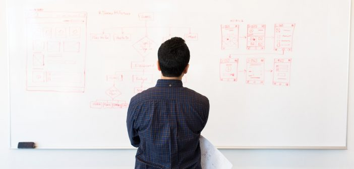 Man in front of white board