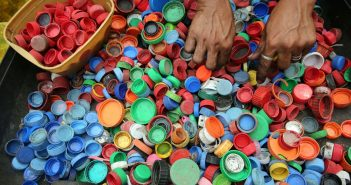 Lots of different coloured bottle caps