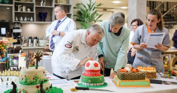 Judging the cakes at Colten care competition