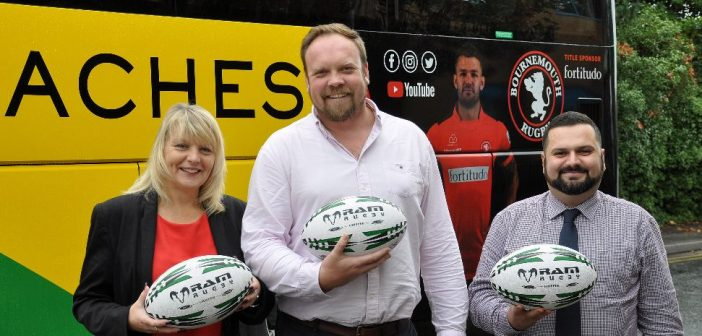 Fiona Harwood from Yellow Buses, James Croker from Bournemouth Rugby and Jay Thornton of Yellow Coaches