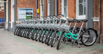 image of Beryl bikes outside Bournemouth train station