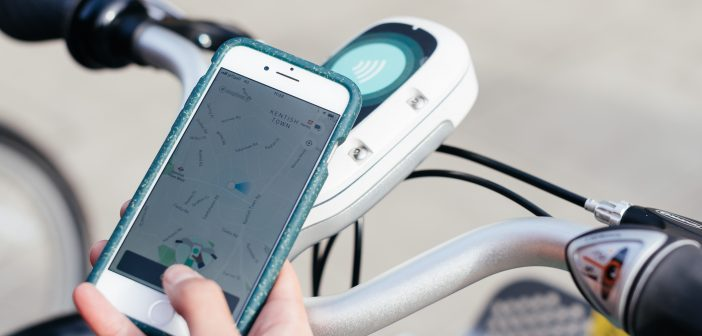 image of phone app for Beryl Bikes opening a bike