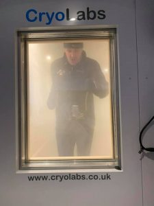image of Jordan Wylie running in the cryo chamber